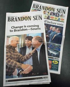 A full 4-page section purchased by the Liberals is wrapped around the Sun's Friday edition in advance of the federal byelection in Brandon-Souris on Monday.