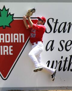 Winnipeg Goldeyes left fielder Ridge Carpenter catches a fly ball at the wall during an afternoon game against the Lincoln Saltdogs at Shaw Park Wednesday.