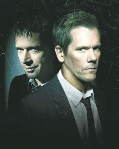 Bacon (right) stars as a former FBI agent called out of retirement to find Joe Carroll (James Purefoy, left) in The Following.