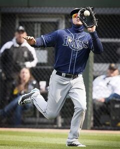 Tampa Bay Rays right fielder Wil Myers catches a fly ball hit by Chicago White Sox Gordon Beckham during the eighth inning of a baseball game, Sunday, April 27, 2014, in Chicago. The Chicago White Sox won 9-2. (AP Photo/Andrew A. Nelles)