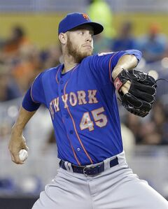 New York Mets' Zack Wheeler delivers a pitch during the first inning of a baseball game against the Miami Marlins, Monday, Sept. 1, 2014 in Miami. (AP Photo/Wilfredo Lee)