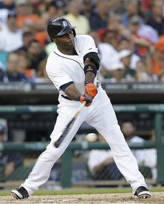 Detroit Tigers' Torii Hunter hits a single against the Kansas City Royals in the fourth inning of a baseball game in Detroit, Monday, June 16, 2014. Hunter left the game with an injury after running to first base. (AP Photo/Paul Sancya)