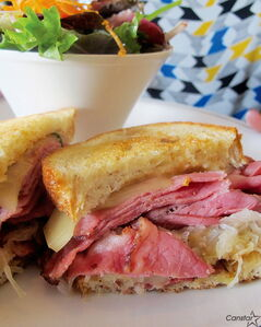 The Reuben sandwich at Promenade Cafe and Wine is made with Montreal smoked meat rather than corned beef.
