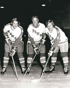 Gordie has the support of sons Marty (left) and Mark (right) now after being teammates in the World Hockey Association.