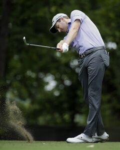 Brendon Todd hits his tee shot on the 11th hole during the first round of the PGA Championship golf tournament at Valhalla Golf Club on Thursday, Aug. 7, 2014, in Louisville, Ky. (AP Photo/Jeff Roberson)