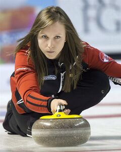 Ontario skip Rachel Homan takes a shot during gold medal curling action against Manitoba at the Scotties Tournament of Hearts Sunday, February 24, 2013 in Kingston, Ont. Homan wasn't intimidated by big names like Nedohin, Jones, Scott and Arsenault at the recent Scotties Tournament of Hearts. The young Ottawa skip went through them all en route to her first national women's curling title. Next up is the March 16-24 world women's curling championship in Latvia and once again, Homan is confident and ready.THE CANADIAN PRESS/Ryan Remiorz