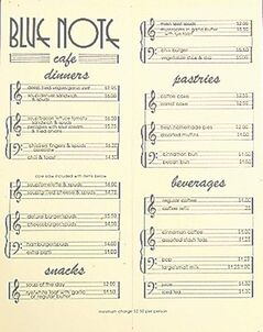 The Blue Note Cafe's menu is one of many in Gayleen Peloquin's collection.