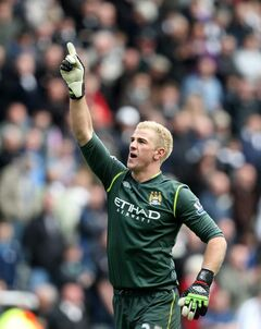 Man City goalkeeper Joe Hart celebrates a victory last week. He hopes to be doing the same on Sunday.