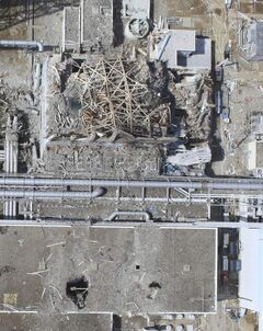 An aerial photo of damaged Unit 3 at the crippled Fukushima Dai-ichi nuclear power plant on March 24, 2011.