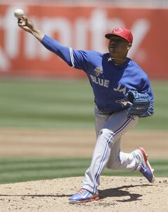 Toronto Blue Jays' Marcus Stroman works against the Oakland Athletics in the first inning of a baseball game on Friday, July 4, 2014, in Oakland, Calif. (AP Photo/Ben Margot)
