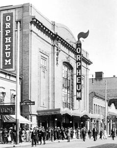 The Orpheum Theatre in Winnipeg in 1910. It was on Fort Street near Portage Avenue, roughly where the entrance to Winnipeg Square is today.