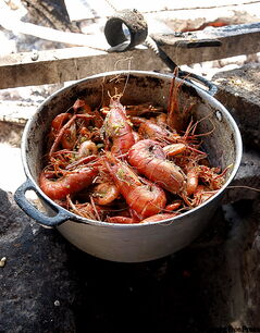 A big pot of freshwater peppered shrimp, Bilroy 'Billy' Kerr's specialty at his roadside stand in St. Elizabeth, Jamaica, the country's shrimp capital.