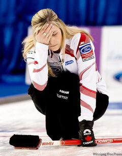 Canada skip Jennifer Jones reacts after a shot while playing against Scotland during playoff action at the 2010 World Women's Curling Championships in Swift Current, Sask., on Saturday.