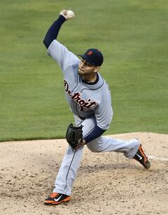 Detroit Tigers pitcher Anibal Sanchez works against the Texas Rangers in the fourth inning of a baseball game, Wednesday, June 25, 2014, in Arlington, Texas. (AP Photo/Tony Gutierrez)
