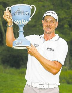 Henrik Stenson finished off a strong but trophy-less summer winning the Deutsche Bank Championship Monday.