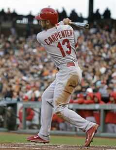 St. Louis Cardinals' Matt Carpenter hits an RBI single off San Francisco Giants starting pitcher Ryan Vogelsong in the third inning of their baseball game Wednesday, July 2, 2014, in San Francisco. (AP Photo/Eric Risberg)