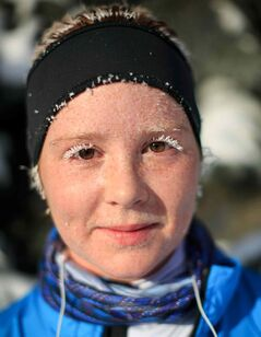 Brianna Koller trains for her first marathon Wednesday as the temperature dipped to -31 with the wind chill.