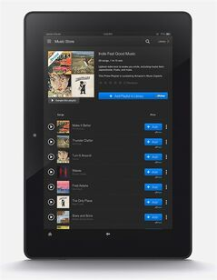 In this handout photo released by Amazon Music shows Amazon new music streaming service for its Prime members, adding yet another freebie to the free-shipping plan ahead of the expected unveiling of its first smartphone next week. Starting Thursday, June 12, 2014, Amazon.com Inc. will offer more than a million tracks for streaming and downloading to its own Kindle Fire tablets as well as on its Amazon Music app for Apple and Android devices. People that pay $99-a-year for Prime can use the music for no extra cost. Amazon reached licensing deals with most of the top independent labels and major recording companies Sony and Warner Music, but failed to reach a deal with top-ranked Universal Music Group. (AP Photo/Amazon Music)