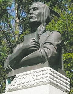 Chief Peguis, a Saulteaux chief, is memorialized with this monument in Kildonan  Park.