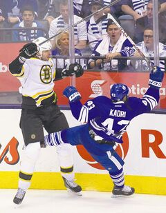 Boston defenceman Zdeno Chara's hit on Nazem Kadri Monday is an apt metaphor for what the Bruins did to the Maple Leafs. Toronto's first home playoff game since 2004 didn't quite go the way the Leafs hoped.