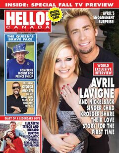 Nickelback frontman Chad Kroeger tells Hello! Canada magazine he fell for fellow rocker Avril Lavigne in Paris during work on her upcoming fifth studio album. In this week's issue of Hello! Canada magazine, the two share their story and engagement photos, in which Lavigne is wearing a pear-shaped diamond ring. THE CANADIAN PRESS/ho-Hello! Canada-Robb Dipple