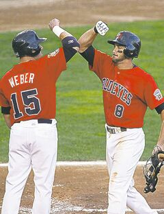 Jon Weber (left) will be a Fish to watch when he returns.