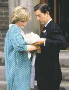 Britain's Prince Charles, Prince of Wales, and wife Princess Diana take home their newborn son Prince William, as they leave St. Mary's Hospital in London.
