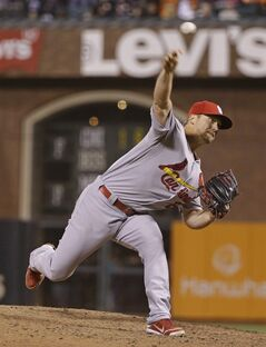 St. Louis Cardinals closing pitcher Trevor Rosenthal throws against the San Francisco Giants in the ninth inning of a baseball game Wednesday, July 2, 2014, in San Francisco. St. Louis won the game 2-0 and Rosenthal got his 25th save of the season. (AP Photo/Eric Risberg)