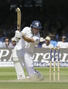 England's Gary Ballance plays a shot off the bowling of India's Stuart Binny during the second day of the second test match between England and India at Lord's cricket ground in London, Friday, July 18, 2014. (AP Photo/Kirsty Wigglesworth)