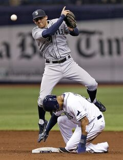 Seattle Mariners shortstop Brad Miller, top, avoids Tampa Bay Rays' Desmond Jennings after forcing him at second base on a fielder's choice by Rays' Matt Joyce during the fifth inning of a baseball game Friday, June 6, 2014, in St. Petersburg, Fla. (AP Photo/Chris O'Meara)
