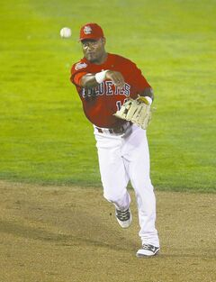 Goldeyes second baseman Price Kendall wings a throw to first for the put-out on Friday night.