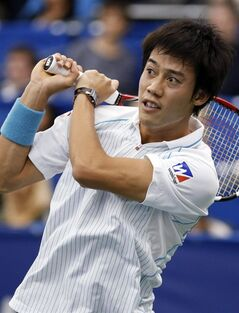 Kei Nishikori, of Japan, watches a return to Benjamin Becker, of Germany, at the U.S. National Indoor Tennis Championships on Wednesday, Feb. 12, 2014, in Memphis, Tenn. (AP Photo/Rogelio V. Solis)