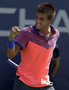 Borna Coric, of Croatia, reacts after a point against Lukas Rosol, of the Czech Republic, during the first round of the 2014 U.S. Open tennis tournament, Tuesday, Aug. 26, 2014, in New York. (AP Photo/Darron Cummings)