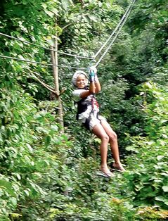 Maya Sullivan ziplining at Mystic Mountain.