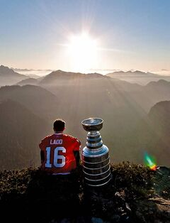 Atlanta Thrashers forward Andrew Ladd, formerly of the Stanley Cup champion Chicago Blackhawks, spends his day with the Stanley Cup atop Crown Mountain, B.C., north of Vancouver, on Monday, July 19, 2010.The Stanley Cup is on the road with the Boston Bruins. Assistant coach Doug Houda spent some time with the trophy in Whitefish, Mont., on Tuesday and will send it off on a two-month celebration that stretches from coast-to-coast in Canada to remote locales in Europe.THE CANADIAN PRESS/ Mark L. Johnson