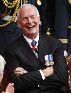 Governor General Designate David Johnston laughs during the installation ceremony of the 28th Governor General in the Senate on Parliament Hill , Friday, Oct. 1, 2010, in Ottawa.