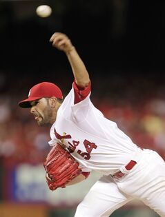 St. Louis Cardinals starting pitcher Jaime Garcia delivers a pitch in the second inning of a baseball game against the Philadelphia Phillies, Friday, June 20, 2014, in St. Louis. (AP Photo/Tom Gannam)