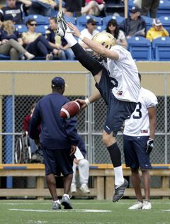 The Winnipeg Blue Bombers' Mike Renaud (9) gets full extension on a warm-up punt during the first day of training camp.