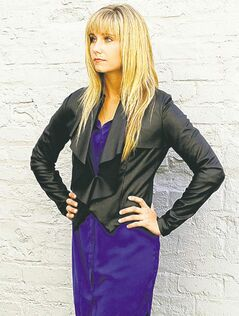 Black leatherette jacket with lapel detail, Lady Dutch, $119.99