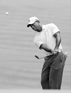 Tiger Woods in practice in Akron, Ohio.