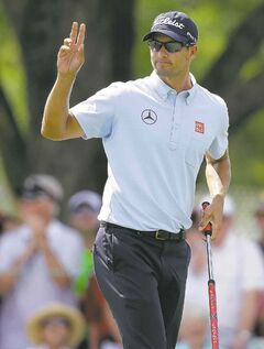 2013 Masters champion Adam Scott followed up his opening 62 at Bay Hill with a less scintillating 68 on Friday.