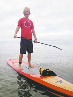 Jay Hawranik will paddle 25 kilometres Saturday, but if the wind picks up and there are huge waves, he'll finish his trip Sunday.