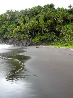 The black sand beach at Black Point, a popular picnic spot on the windward side of St. Vincent.