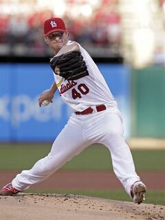 St. Louis Cardinals starting pitcher Shelby Miller sets to deliver in the second inning of a baseball game against the Kansas City Royals, Monday, June 2, 2014, in St. Louis.(AP Photo/Tom Gannam)