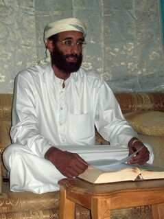 FILE - This October 2008 file photo shows Imam Anwar al-Awlaki in Yemen. A federal appeals court on Monday, June 23, 2014, released a previously secret memo that provided legal justification for using drones to kill Americans suspected of terrorism overseas. The memo pertained specifically to the September 2011 drone-strike killing in Yemen of Anwar Al-Awlaki, an al-Qaida leader who had been born in the United States. (AP Photo/Muhammad ud-Deen, File)