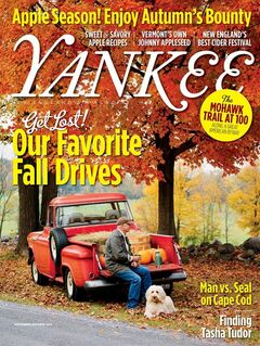 This undated image supplied by Yankee Magazine, shows the cover of Yankee's September-October issue, which goes on sale Tuesday, Aug. 26, 2014. The magazine offers ideas for scenic drives, fall festivals and other autumn pursuits, including how to grow a pumpkin 10 times your weight. (AP Photo/Yankee Magazine)