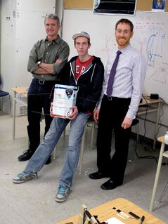 From left to right: Robert Striemer, Alex Poersch, and Adrian Deakin from Shaftesbury High School's SHARP program. Their launch was cancelled on Oct. 30, but they are rescheduling as soon as possible.