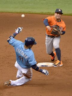 Houston Astros second baseman Jose Altuve, right, throws to first base to attempt a double play after forcing out Tampa Bay Rays' Yunel Escobar (11) during the sixth inning of a baseball game in St. Petersburg, Fla., Sunday, June 22, 2014. Rays' Sean Rodriguez was safe at first base on the play. (AP Photo/Phelan M. Ebenhack)