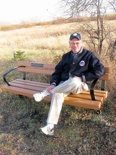 Headingley Grand Trunk Trail Association treasurer Ray Hutton relaxes on one of the benches situated next to the trail. The trail will soon offer interpretive videos which can be viewed by visitors who have a smartphone.