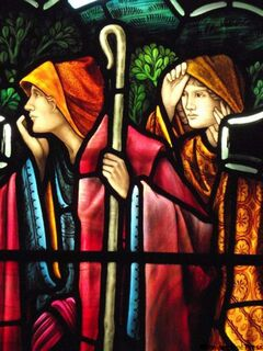 Detail of The Nativity by Morris & Co. — The Shepherds.